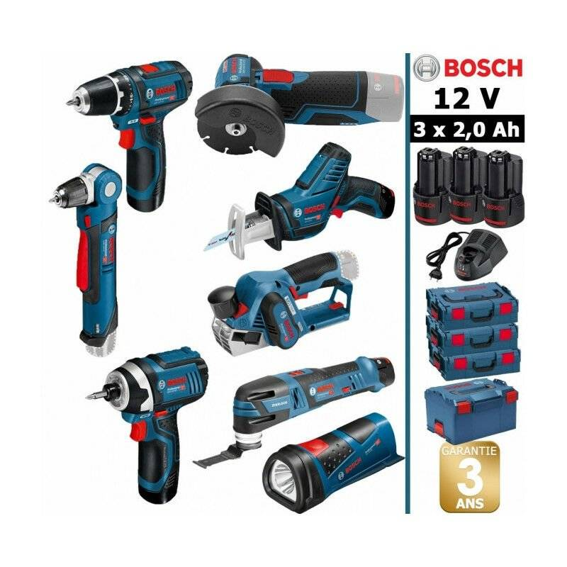 Bosch - Pack 12V 8 outils: Perceuse GSR 12V-15 + Perceuse d'angle GWB