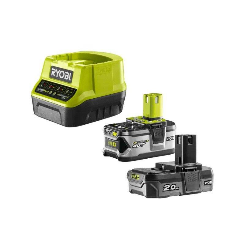 Ryobi - Pack 2 batteries Lithium+ 18 V One+ 4.0 Ah et 2.0 Ah + chargeur