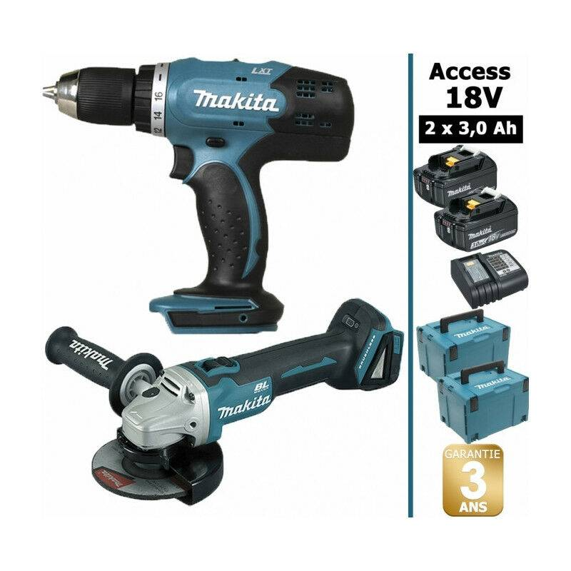 Makita - Pack 18V 3Ah: Perceuse 42Nm DDF453 + Meuleuse DGA452 115mm + 2