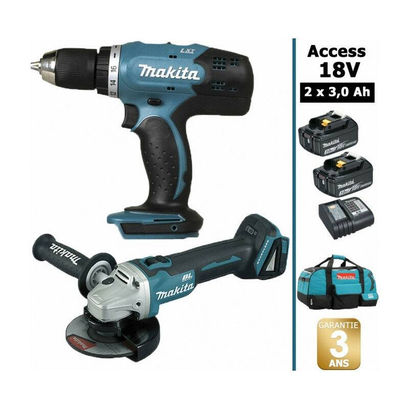 Makita - Pack 18V 3A: Perceuse 42Nm DDF453 + Meuleuse 115mm DGA452 + 2