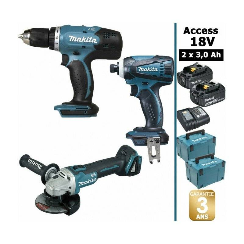 Makita - Pack 18V 3Ah: Perceuse 42Nm DDF453 + Visseuse à chocs 160Nm