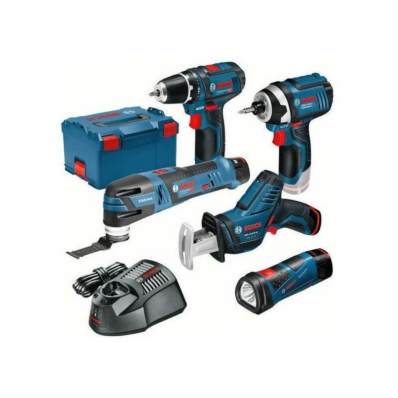 BOSCH Pack 5 outils sans-fil 12V GSA + GSR + GOP + GDR + GLI + 3 batt 2Ah en