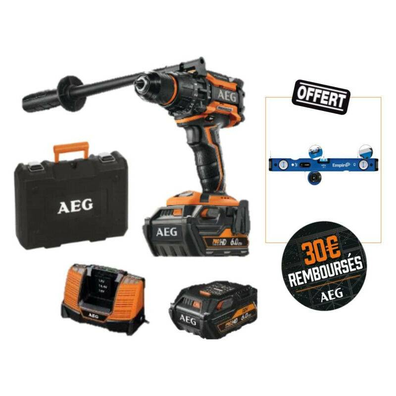AEG Pack AEG Perceuse à percussion 18V Brushless - 2 batteries 6,0Ah HD - 1