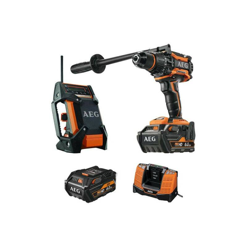 A.e.g - Pack AEG Perceuse percussion Brushless 18V BSB18BL-602C - Radio