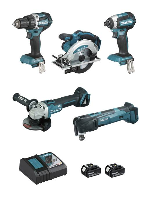 MAKITA Ensemble de 5 machines MAKITA 18V Li-Ion 5.0 Ah - Scie circulaire +