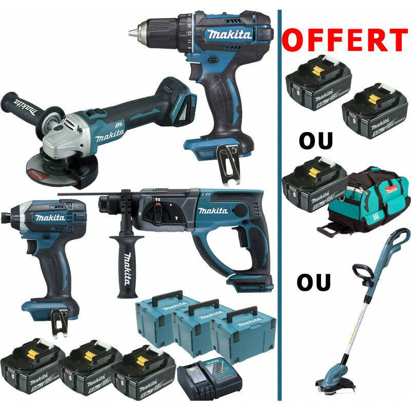 MAKITA Pack immanquable Makita 18V 5Ah: Perceuse 62Nm DDF482 + Meuleuse 125mm