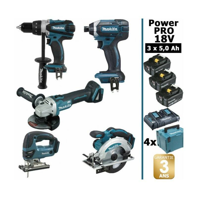 MAKITA Pack Makita Power PRO 5 outils 18V: Perceuse DDF458 + Meuleuse DGA504 +