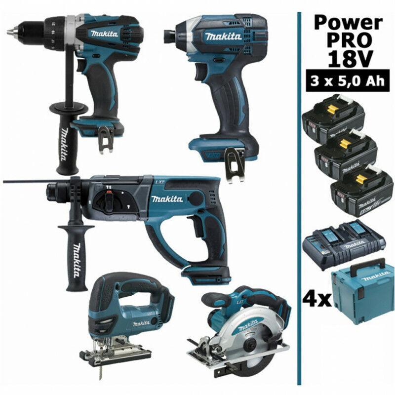 MAKITA Pack Makita Power PRO 5 outils 18V: Perceuse DDF458 + Perfo DHR202 +
