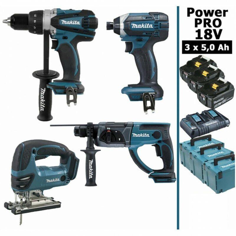 MAKITA Pack Makita Power PRO 18V: Perceuse 91Nm DDF458 + Perfo 2J DHR202 +
