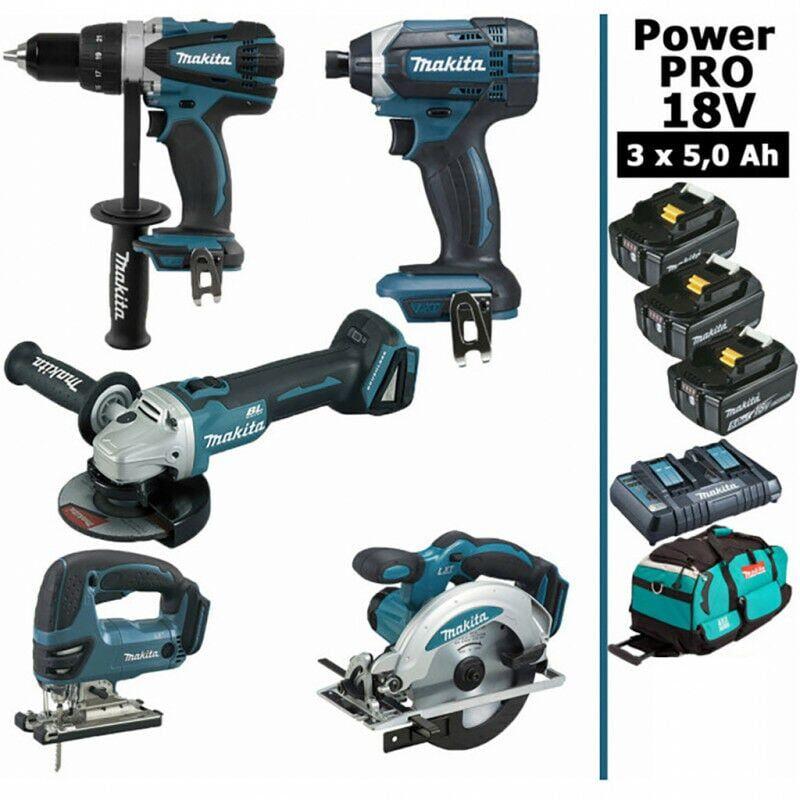 MAKITA Pack Makita Power PRO 5 outils 18V: Perceuse DDF458 + Meuleuse DGA504 +