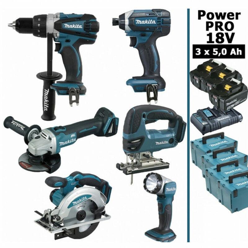 MAKITA Pack Makita Power PRO 6 outils 18V: Perceuse DDF458 + Meuleuse DGA 504