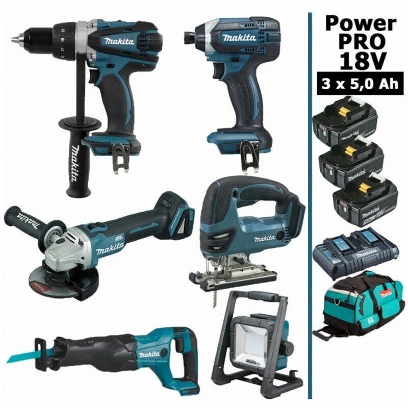 MAKITA Pack Makita Power PRO 6 outils 18V: Perceuse DDF458 + Meuleuse DGA504 +