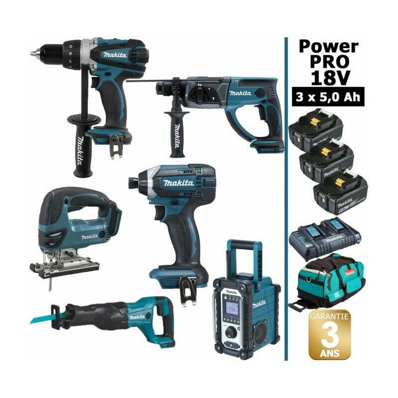 MAKITA Pack Makita Power PRO 6 outils 18V: Perceuse DDF458 + Perforateur