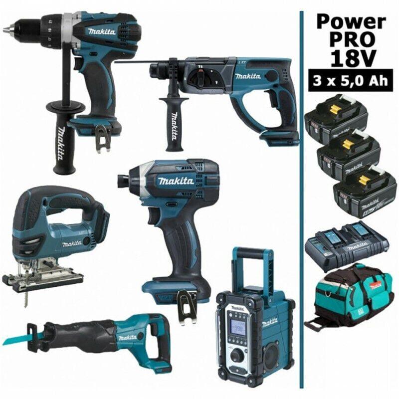 MAKITA Pack Makita Power PRO 6 outils 18V: Perceuse DDF458 + Perforateur