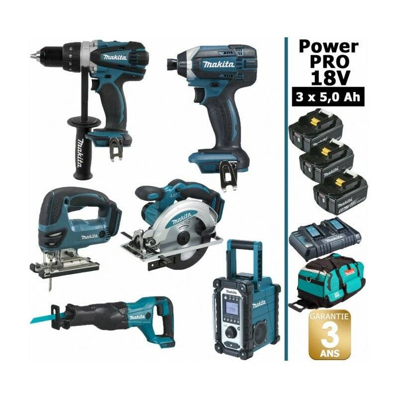 MAKITA Pack Makita Power PRO 6 outils 18V: Perceuse DDF458 + Scie récipro