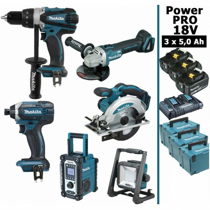 Makita - Pack Power PRO 6 outils 18V: Perceuse DDF458 + Visseuse à choc