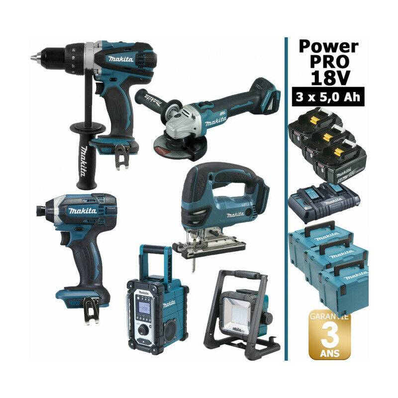 MAKITA Pack Makita Power PRO 6 outils 18V: Perceuse DDF458 + Visseuse à choc