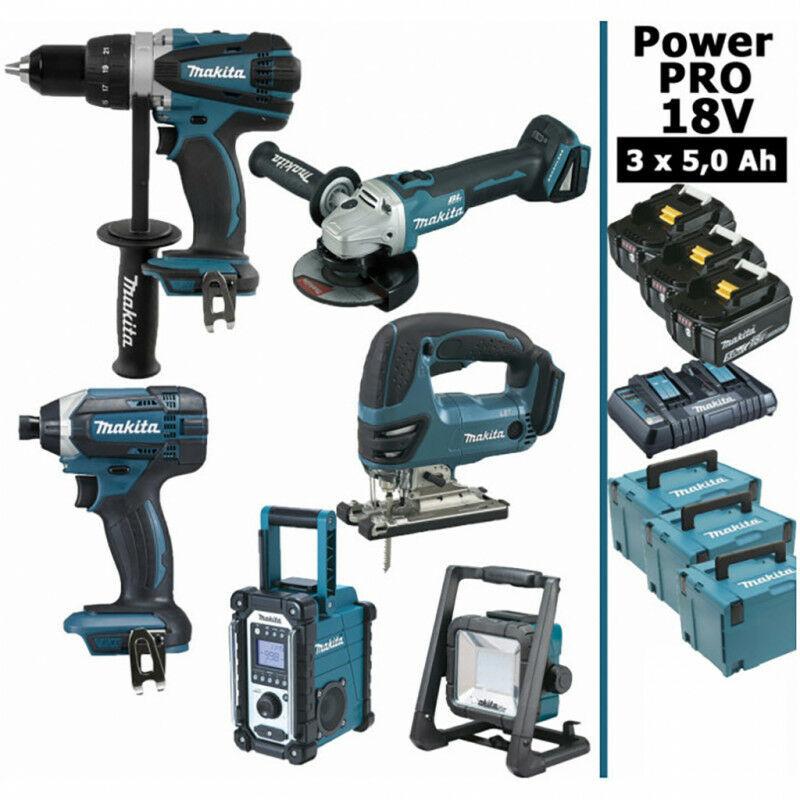 MAKITA Pack Makita Power PRO 6 outils 18V: Perceuse DDF458 + Visseuse à choc