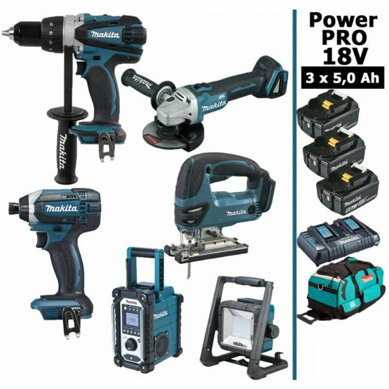 MAKITA Pack Power PRO 6 outils 18V: Perceuse DDF458 + Visseuse à choc DTD152 +