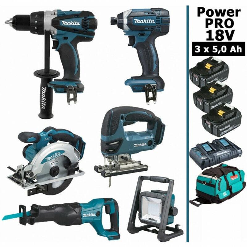 MAKITA Pack Makita Power PRO 6 outils 18V: Perceuse DDF458 + Visseuse à chocs