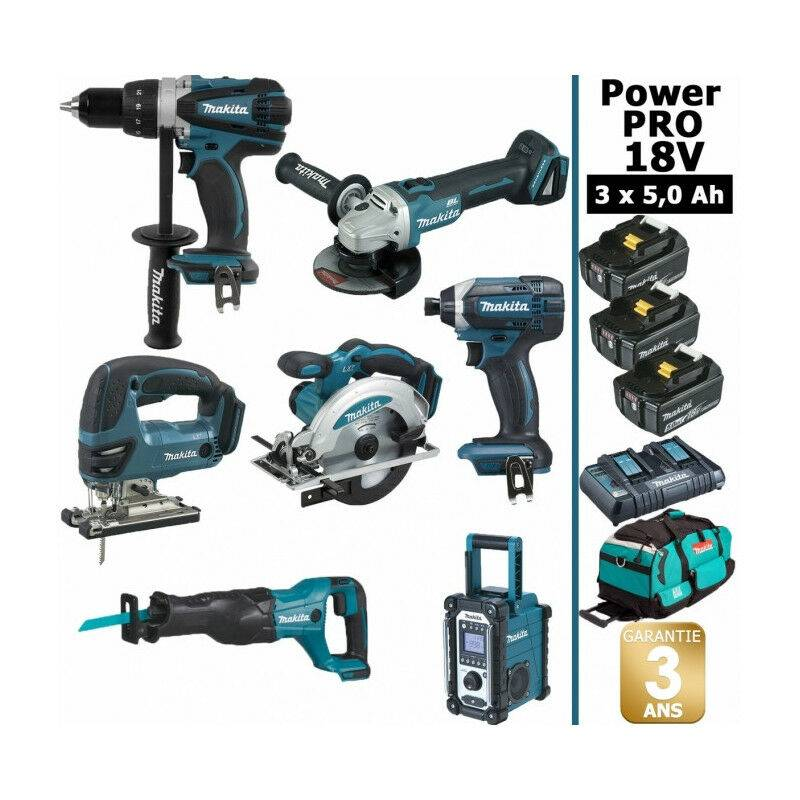MAKITA Pack Power PRO 7 outils 18V: Perceuse DDF458 + Meuleuse DGA504 +