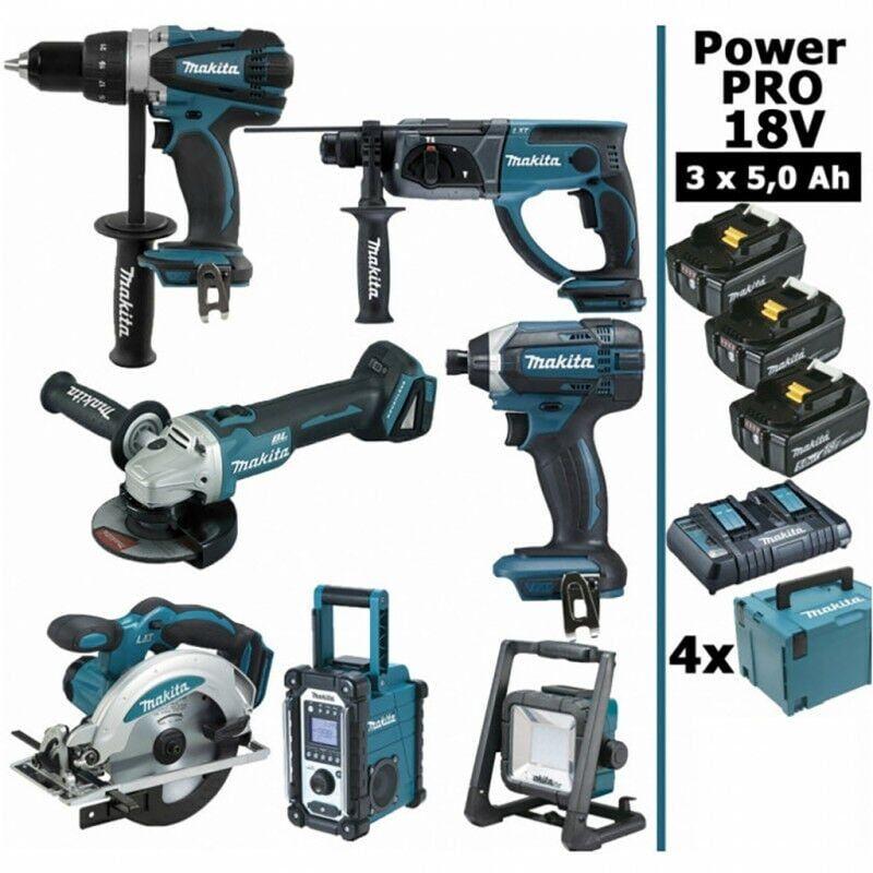 MAKITA Pack Power PRO 7 outils 18V: Perceuse DDF458 + Perfo DHR202 + Visseuse