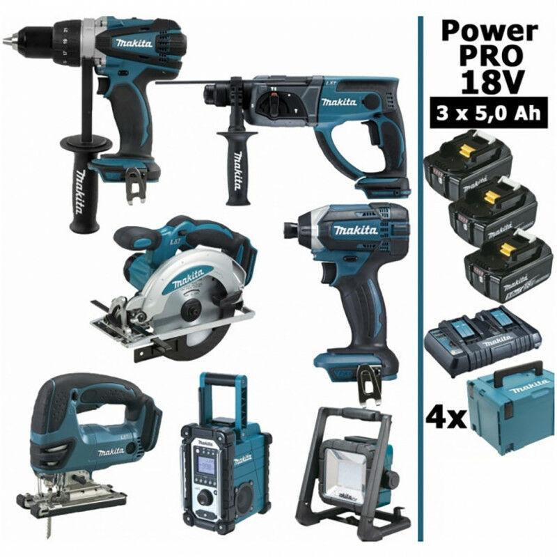 MAKITA Pack Makita Power PRO 7 outils 18V: Perceuse DDF458 + Perfo DHR202 +