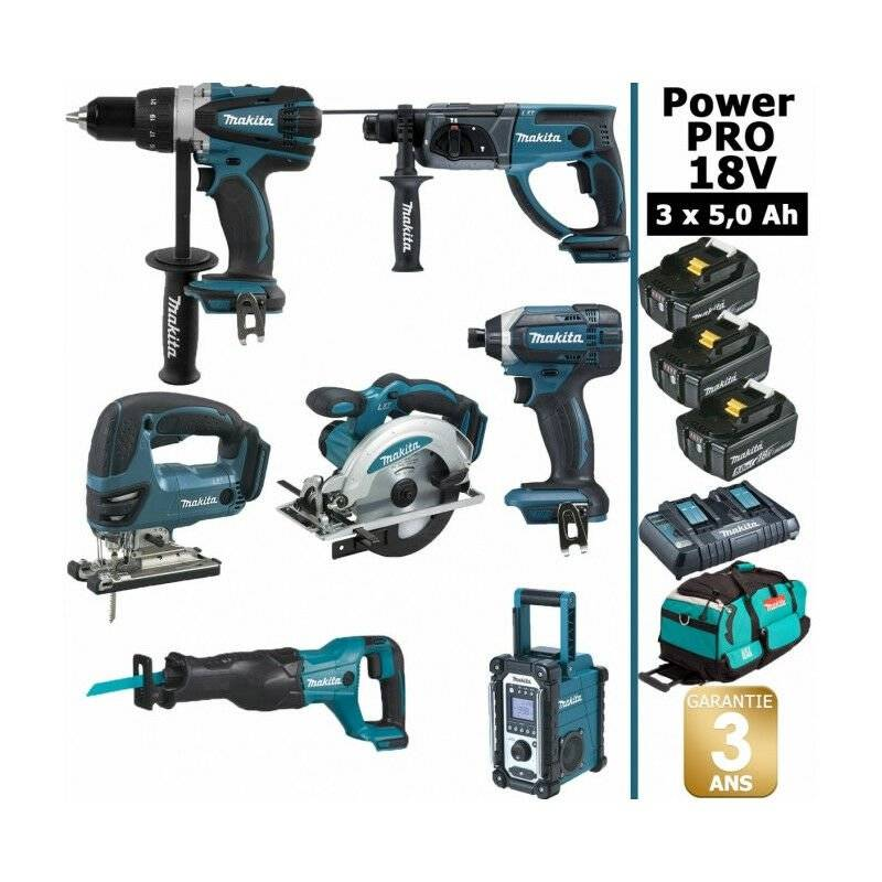 Makita - Pack Power PRO 7 outils 18V: Perceuse DDF458 + Perforateur