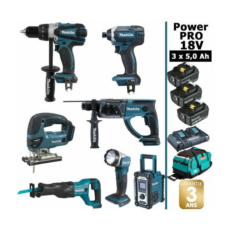 MAKITA Pack Makita Power PRO 7 outils 18V: Perceuse DDF458 + Visseuse à choc
