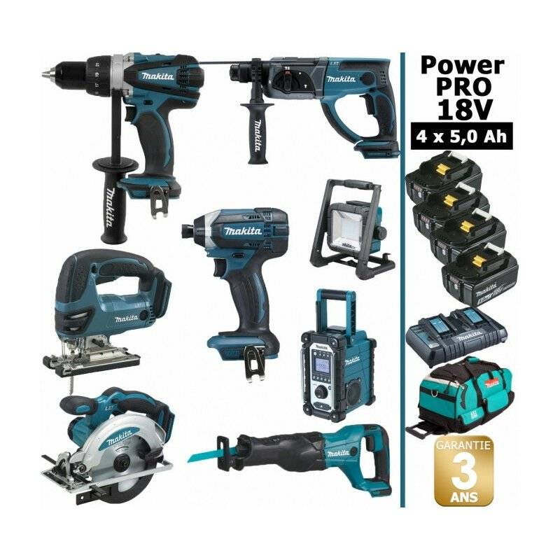 MAKITA Pack Power PRO 8 outils 18V: Perceuse DDF458 + Perfo DHR202 + Visseuse