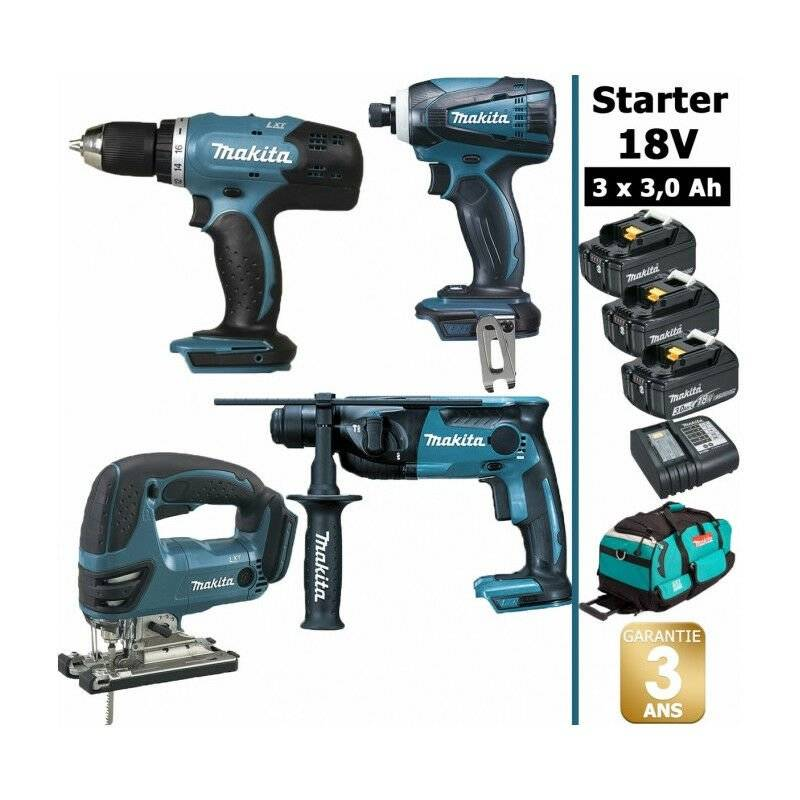 MAKITA Pack Makita Starter 18V: Perceuse DDF453 + Perfo DHR165 + Visseuse à