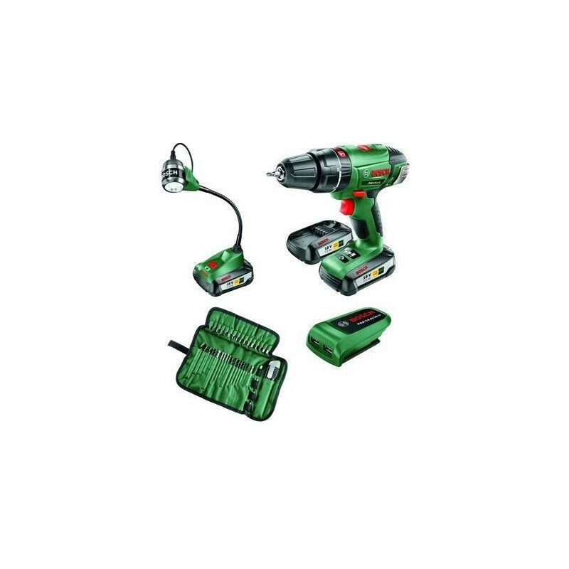 Bosch - Perçeuse sans fil 18V 2 batt 2,5Ah + lampe LED + chargeur USB +