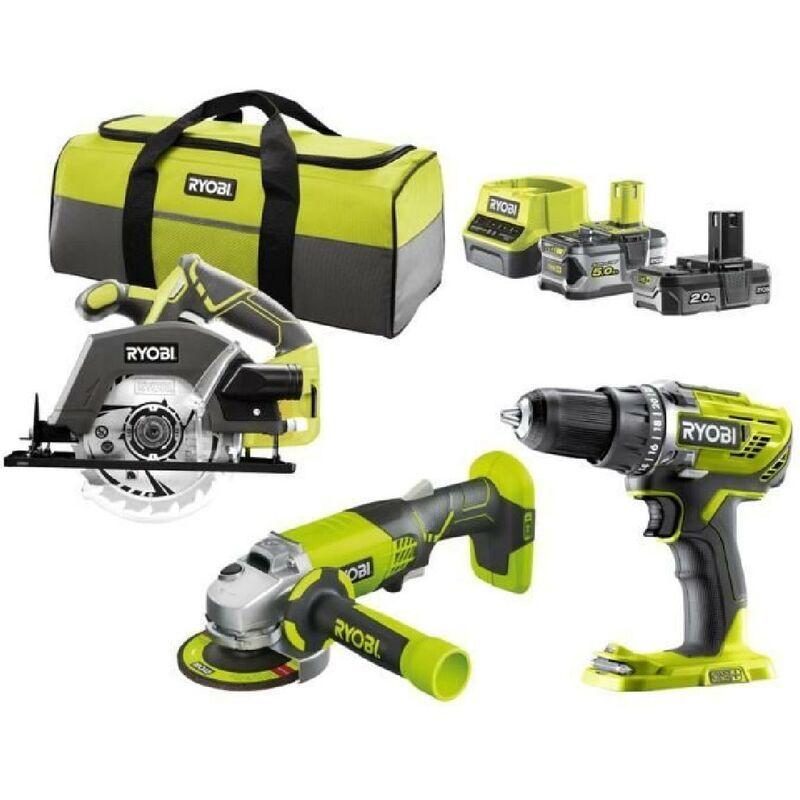 RYOBI R18CK3E-252S Pack 3 outils ONE+ 18V (Perceuse. meuleuse. scie