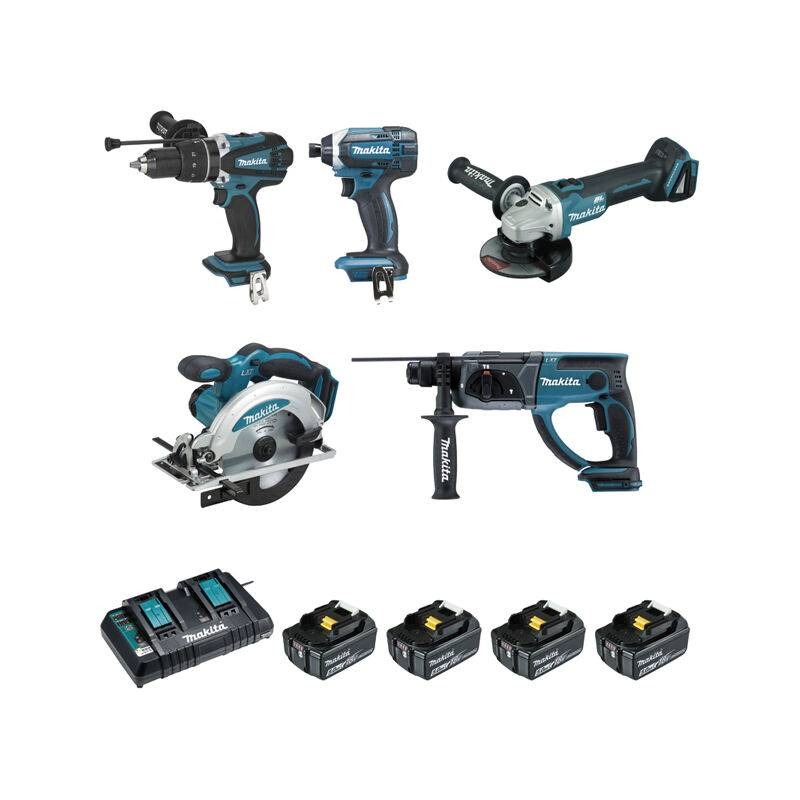 MAKITA Ensemble De 5 Machines Makita 18 V Li-Ion 5 Ah (Dhp458 + Dtd152 +