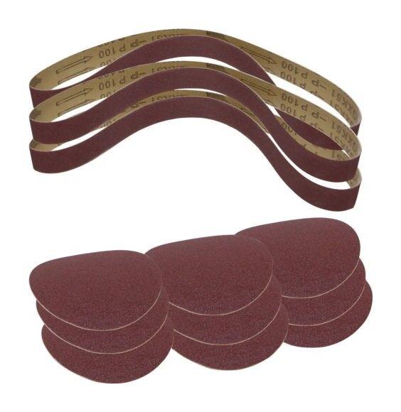 SCHEPPACH Set 12 pièces bandes et disques abrasifs 3903301707 SCHEPPACH