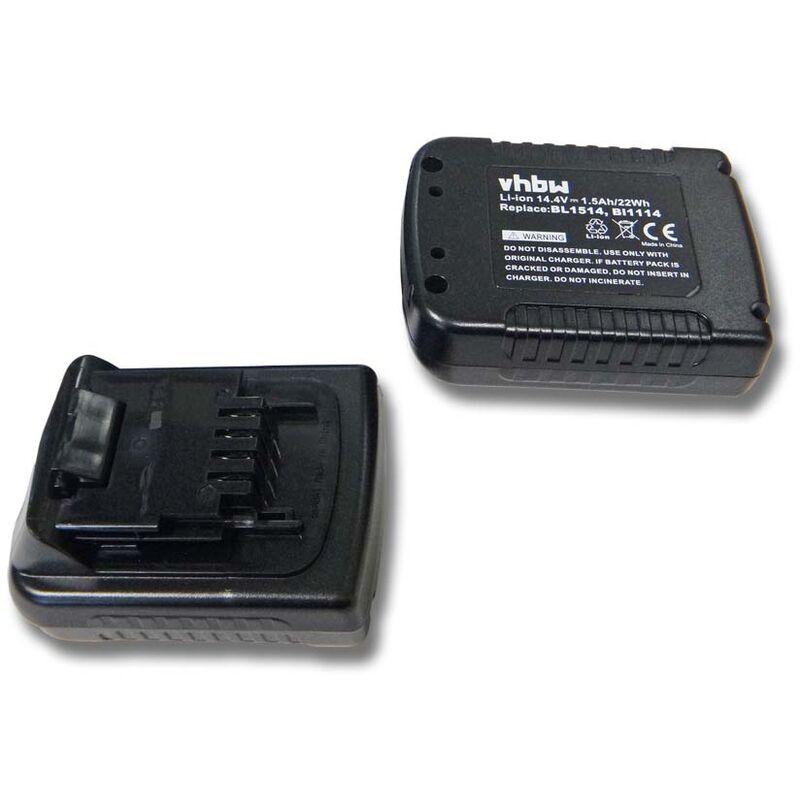vhbw 2x Batteries Li-Ion 1500mAh (14.4V) pour outils Black & Decker