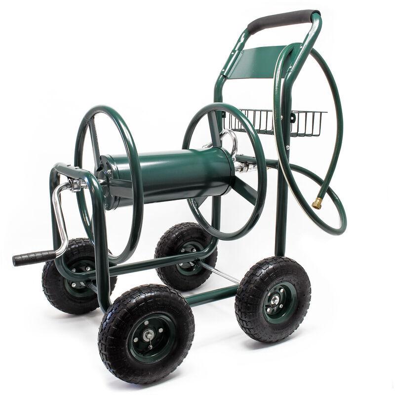 WILTEC Chariot dévidoir pour Tuyau d'arrosage sur Roues Jardin Enrouleur avec