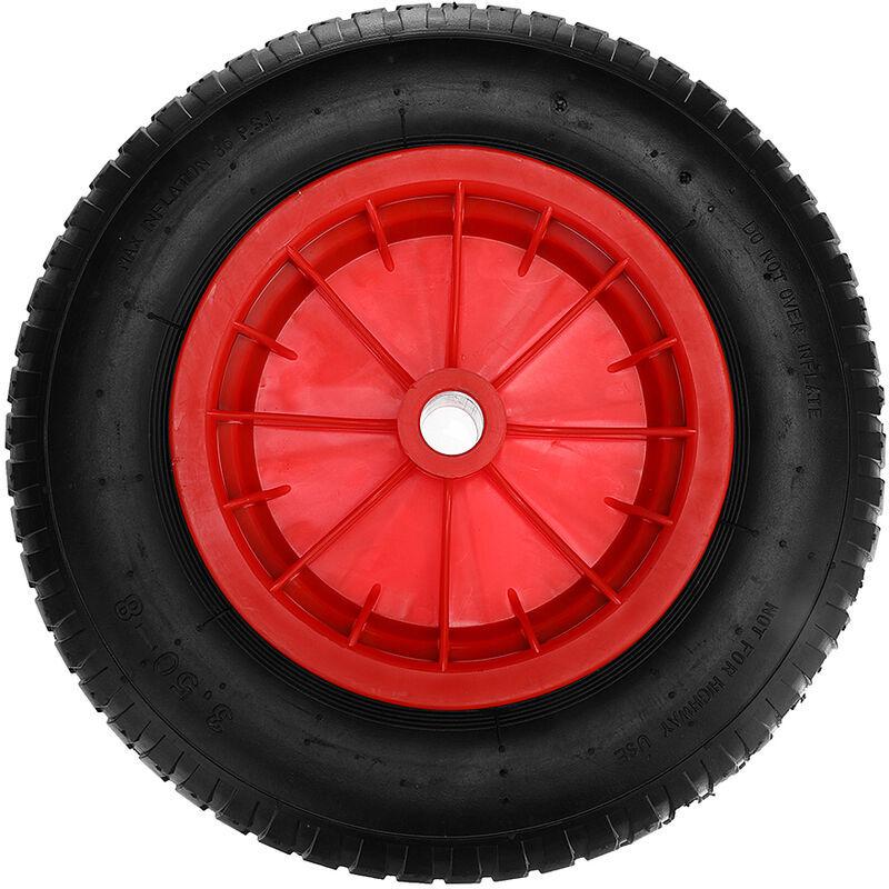Manta - Roue de brouette solide rouge anti-crevaison 16 pouces