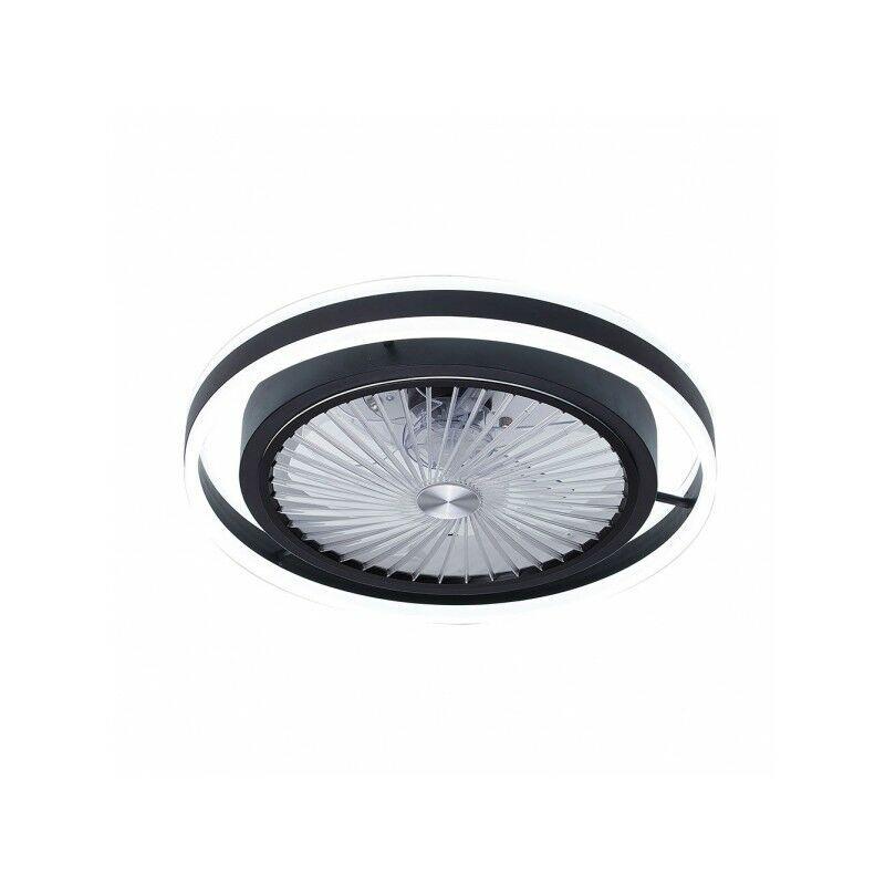 FABRILAMP 56w PAMPERO Black DIMable LED Fan 7 Lames intérieures avec télécommande
