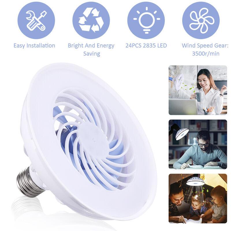 ASUPERMALL 85-220V 12W Mini Ventilateur E27 Ventilateur Lumiere 3 Modes De Chambre