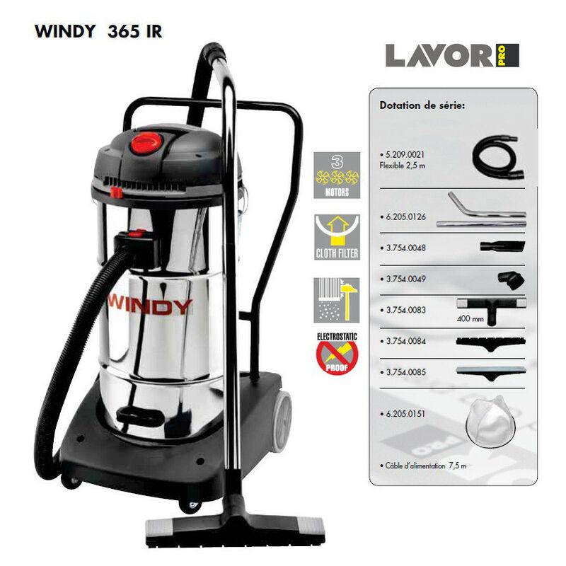 LAVOR Pro - Aspirateur eau et poussières en inox 3600W (3 moteurs) 65L 195l/s