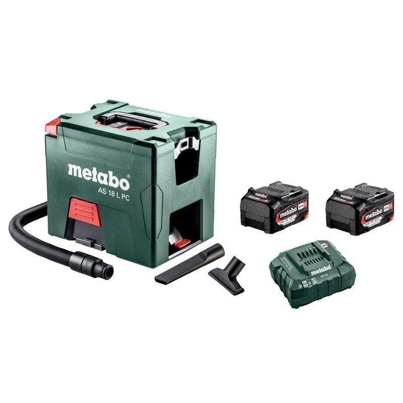 Metabo AS 18 L PC Aspirateur de chantier à batteries 18V Li-Ion (2x