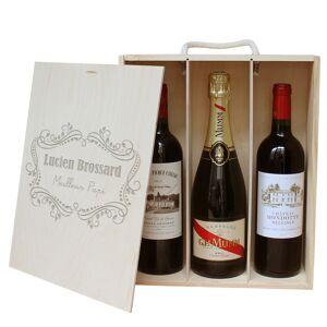 Amikado Caisse à vin 3 bouteilles gravée cadre fleurs - Publicité
