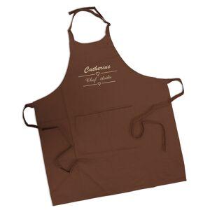 Amikado Tablier marron chocolat brodé label - Publicité