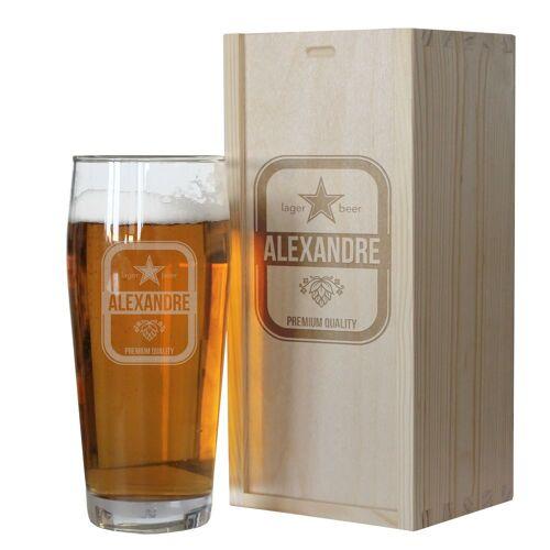 Amikado Verre à bière prénom gravé