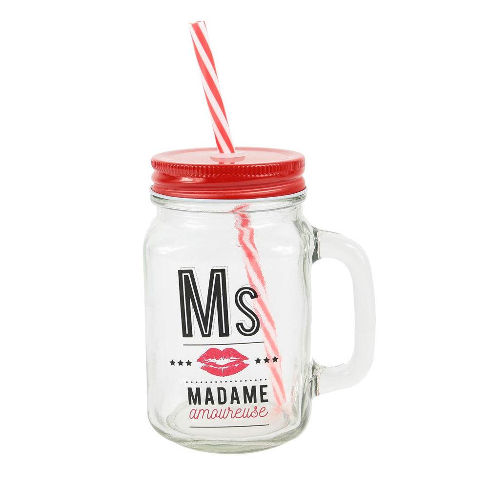 """Amikado Mason jar en verre avec paille """"Ms Amoureuse"""""""