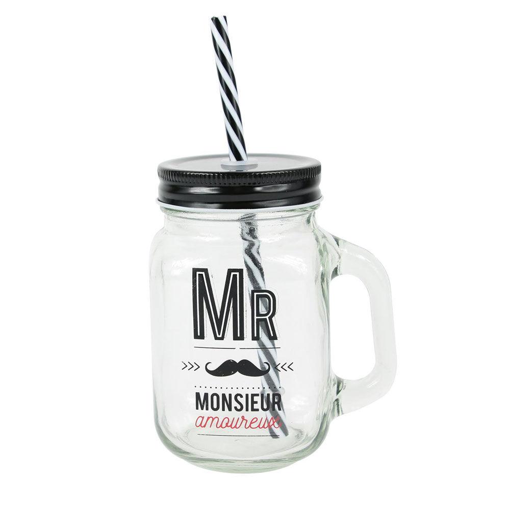 """Amikado Mason jar en verre avec paille """"Mr Amoureux"""""""