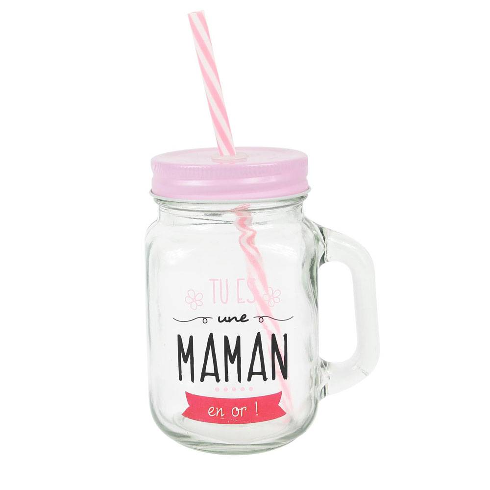 """Amikado Mason jar en verre avec paille """"Tu es une Maman en or"""""""