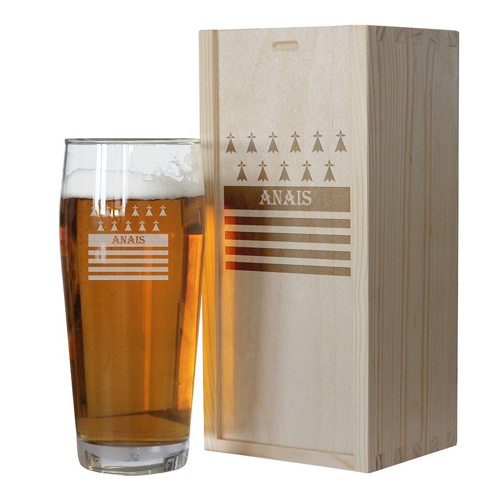 Amikado Verre à bière Bretagne personnalisé avec un prénom