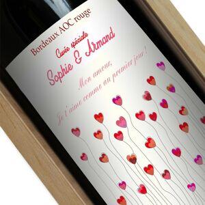 Amikado Bouteille de vin personnalisée Champ de coeurs - Publicité